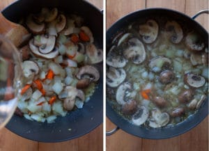 Add the wine, bring to a boil, add the stock and the herbs.
