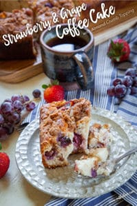 Strawberry and Grape Coffee Cake with Almond Crumb Topping.