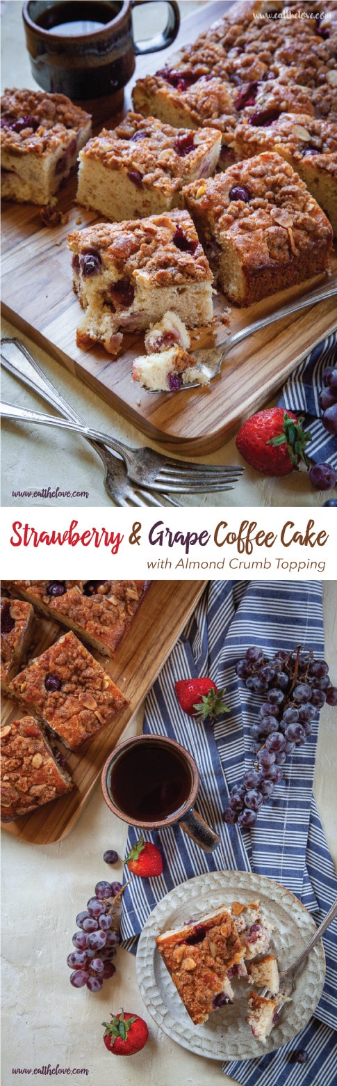 Strawberry and Grape Coffee Cake with Almond Crumb Topping. #coffeecake #strawberry #strawberrycake #recipe #grape #grapecake #graperecipe #strawberryrecipe #crumbtopping #almond #almondmeal #almondflour #breakfast #brunch #cake #nuts