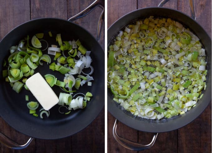 saute the leeks in butter until soft.