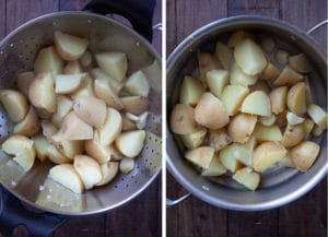 drain the potatoes and then put them back in the hot pot.
