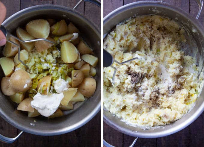 add the leeks and butter to the potatoes and garlic. Add the remaining ingredients and mash.