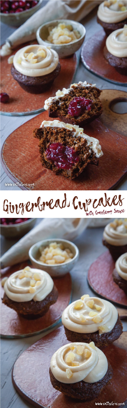 Gingerbread Cupcakes with Cranberry Sauce Filling and Cream Cheese Frosting. #gingerbread #gingerbreadcupcake #gingerbreadmuffin #ginger #cupcake #holiday #christmas #recipe #muffin #cranberry #thanksgiving #leftover #cranberrysauce #creamcheesefrosting
