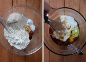 Stir dry ingredients together. Stir wet ingredients together.