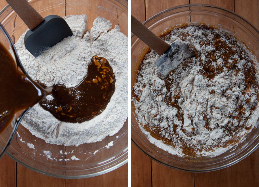 Pour wet ingredients into dry ingredients and fold together.