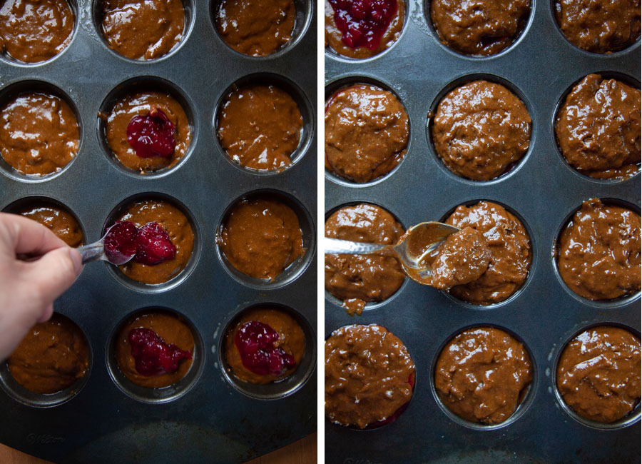 Fill muffin tins halfway, then spoon a heaping teaspoon of cranberry sauce in the middle, then cover with the remaining cupcake batter.