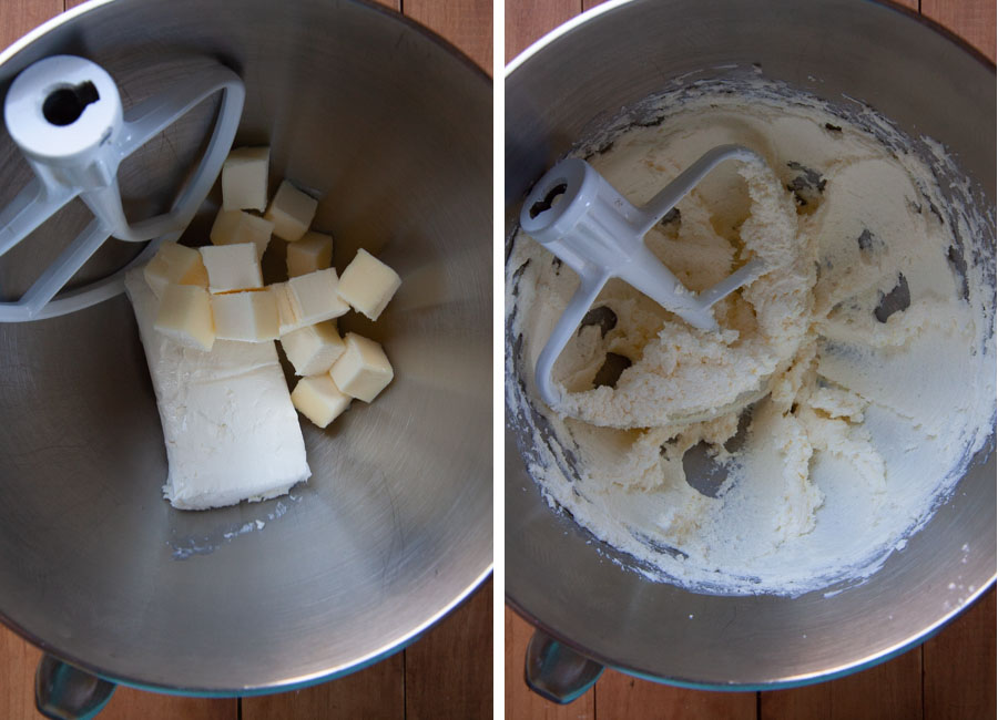 mix the cream cheese and butter together until creamy and clings to the side of the bowl.