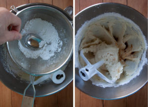 Sift in the powdered sugar, mix to absorb, then mix in the vanilla and salt.
