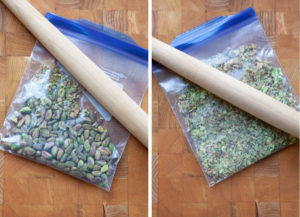 crushed the pistachios in a ziplock bag
