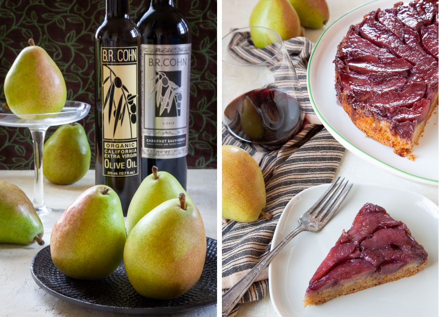 Red Wine Poached Pear Upside Down Olive Oil Cake