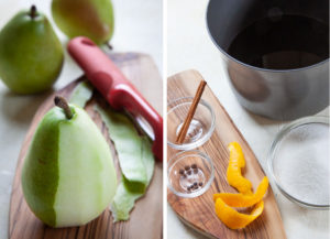 peal the pears then add the remaining ingredients together in a medium saucepan
