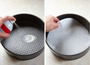 spray a springform pan with cooking oil then place a parchment paper round on the bottom.
