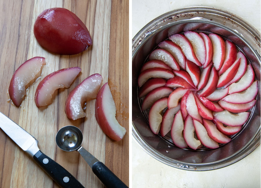 slice the pears, scooping out the seeds, then arrange in the bottom of the pan.