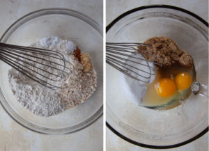 whisk together the dry ingredients in a bowl. Whisk together the wet ingredients in a different bowl