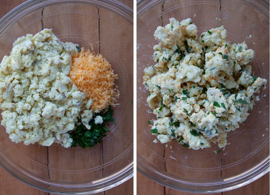 mixed together mashed potatoes, cheese and parsley