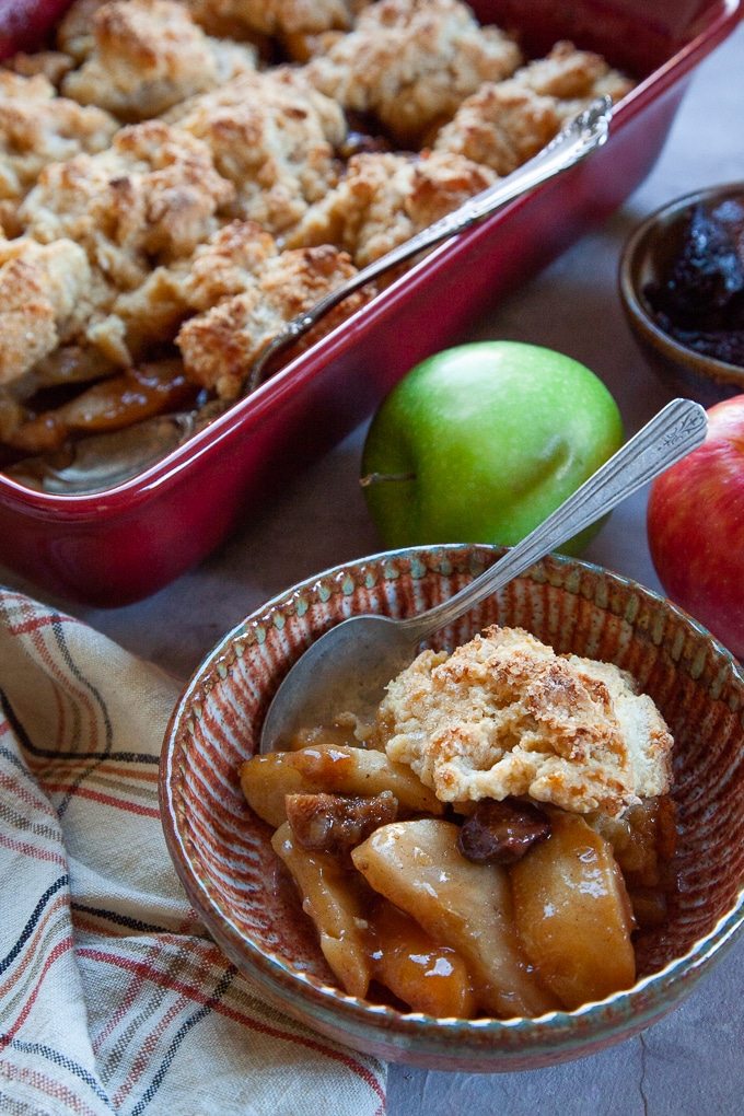 Apple and Fig Cobbler with Eggnog Biscuits and a dash of brandy in the filling!