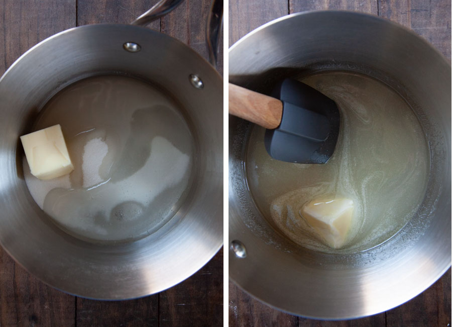 combine the water, sugar, corn syrup, and butter in a saucepan and stir until melted