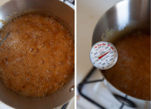 Bring the candy to a golden brown, 340°F on a candy thermometer.