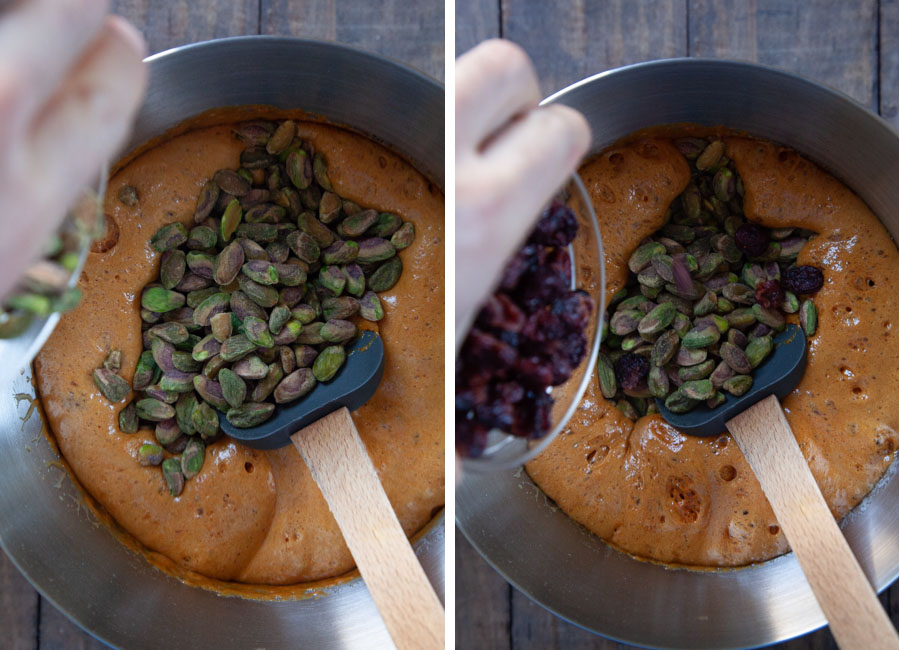then stir in the extract, nuts and cranberries.