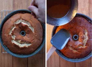 poke a skewer all over the cake then drizzle the glaze over the cake until all the glaze is absorbed.