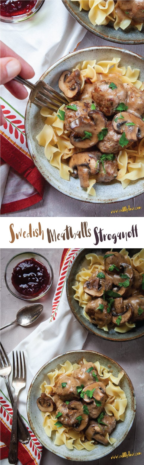 Swedish Meatball Stroganoff served in two bowls with side bowl of lingonberry sauce. #stroganoff #swedish #meatballs #swedishmeatballs #dinner #supper #recipe #fromscratch #weeknightmeals #beef #groundbeef #groundpork