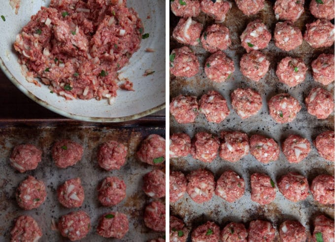 Form 1-inch meatballs from the mixture.