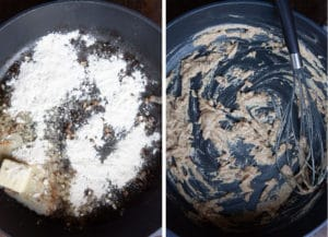 Make a roux by cooking butter and flour in the same pan you cooked the meatballs and mushrooms.