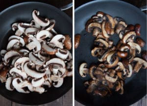 Cook the mushrooms in the same pan as the meatballs.