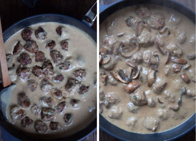 Add the meatballs and mushrooms and simmer for 15 minutes.