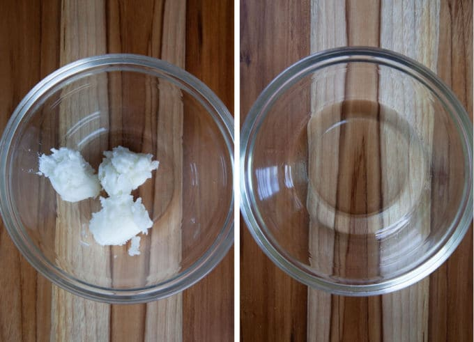 melt coconut oil in a microwave safe bowl