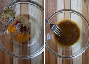 Add spices to the oil and stir.
