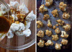 drizzle and toss cauliflower florets in spiced oil then arrange on roasting pan in single layer.