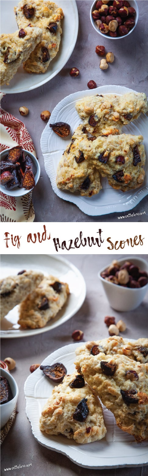 These fig and hazelnut scones are super easy to make and are just barely sweet, making them perfect for breakfast, afternoon snack or anytime of the day! #snack #breakfast #scones #fig #hazelnut #recipe #easy #fast #baking #brunch