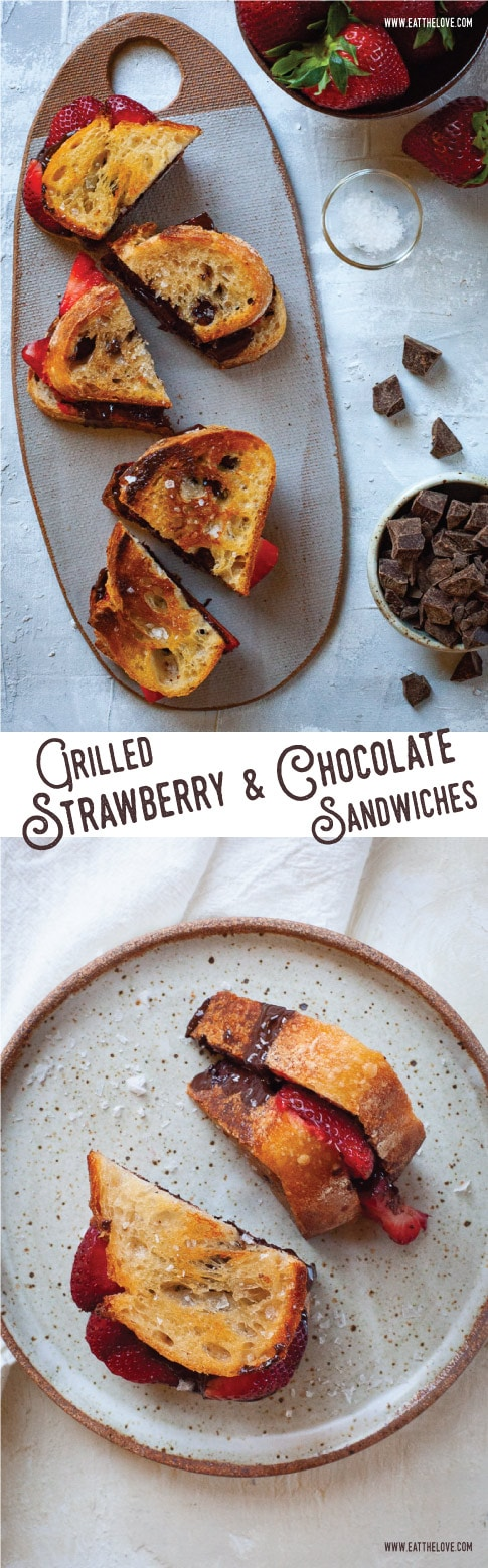 These grilled strawberry and chocolate sandwiches use crusty sourdough bread and a sprinkling of crunchy sea salt to make a quick and easy, yet sophisticated dessert suitable for a fancy dinner party or a casual weeknight meal. #easy #fast #quick #recipe #strawberries #chocolate #dessert #sandwich #weeknight #sweet #treat #sourdough #simple