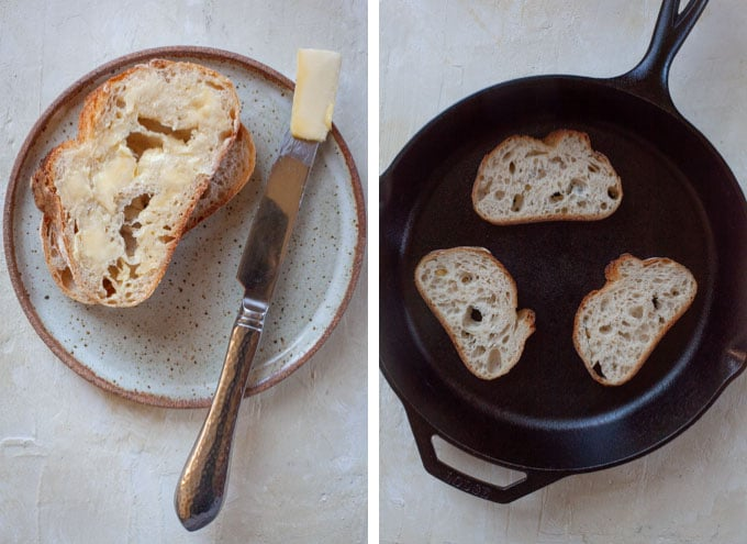 butter one side of the bread and place in a cast iron skillet.