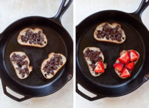 sprinkle half the chocolate on the bread, then top with strawberries after they have melted.