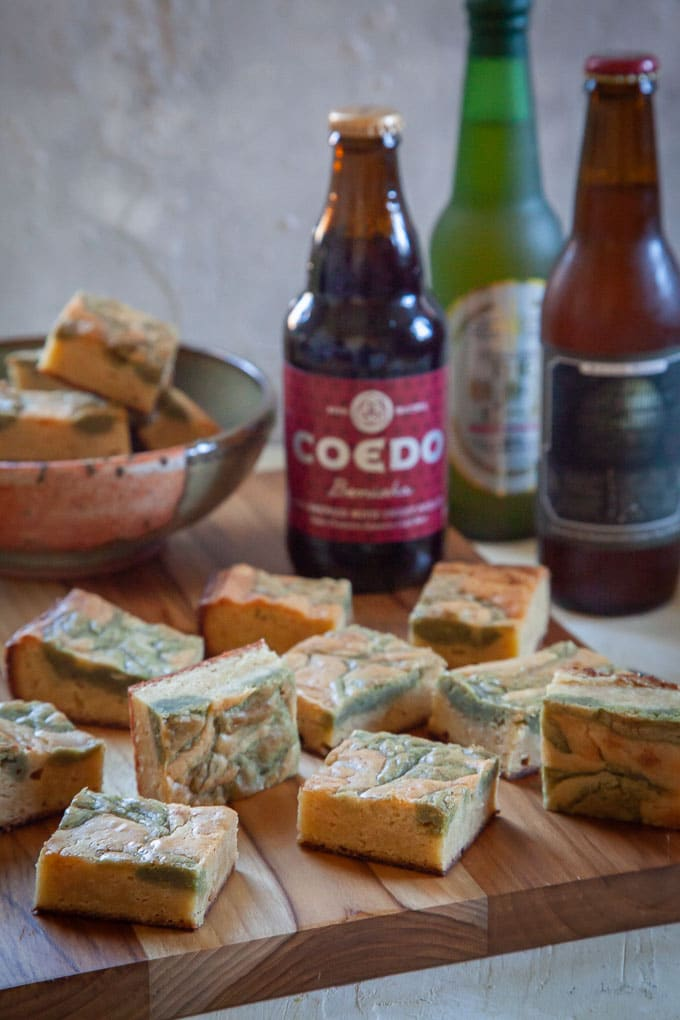 White Chocolate Green Tea Brownies and the Japanese Craft Beer that inspired them.
