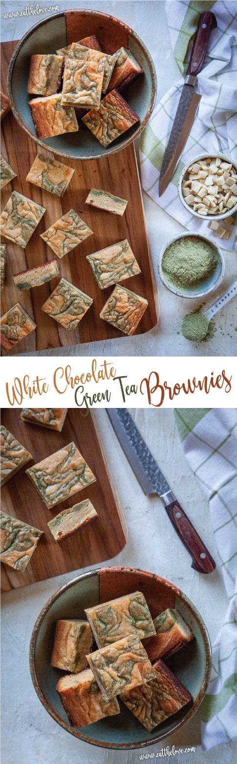 These luscious white chocolate green tea brownies are super easy to make and are impressive for everyone! #greentea #whitechocolate #blondie #brownie #matcha #japanese #swirled #marbled #recipe #food #dessert #snack #quick #sophisticated #baking