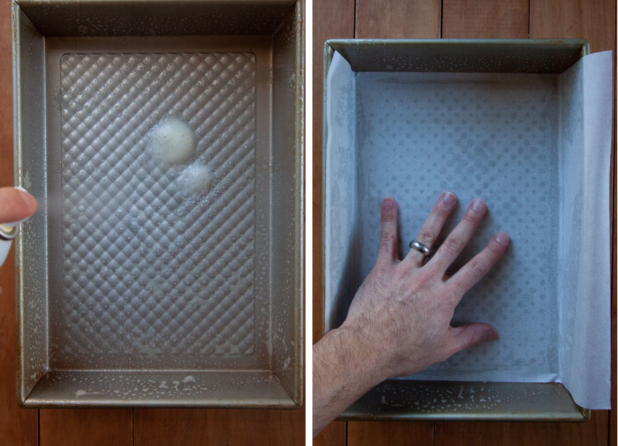 Spray baking pan with cooking oil, then line with parchment paper.
