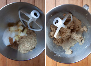 place butter, both sugar, vanilla, baking powder and salt in the bowl of stand mixer with a paddle attachment and cream until a paste clings to the side of the bowl.