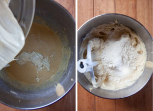 Add the oil, white chocolate and flour, individually, mixing thoroughly before adding the next addition.
