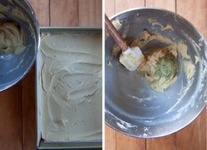 Spoon most of the batter into the pan, leaving 1/2 cup left. Then mix the matcha green tea powder into the remaining batter.
