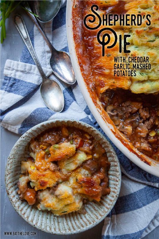 Shepherd's Pie, a savory ground lamb casserole dish.