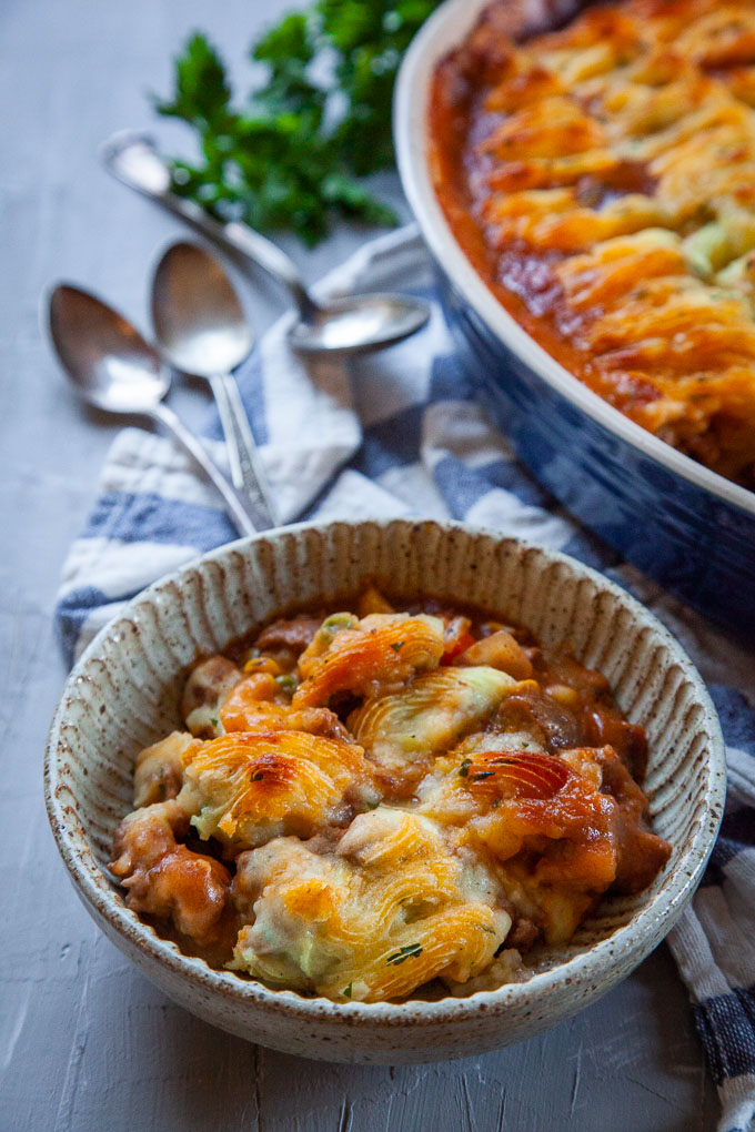 Shepherd's Pie or Cottage Pie, a savory ground lamb casserole dish.