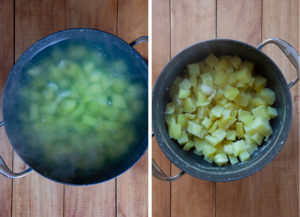 Boil the cubed potatoes