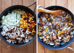 Cook the mushrooms and vegetables until they start to soften.