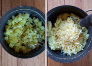 Mash the potatoes with the cheese and other potato ingredients.