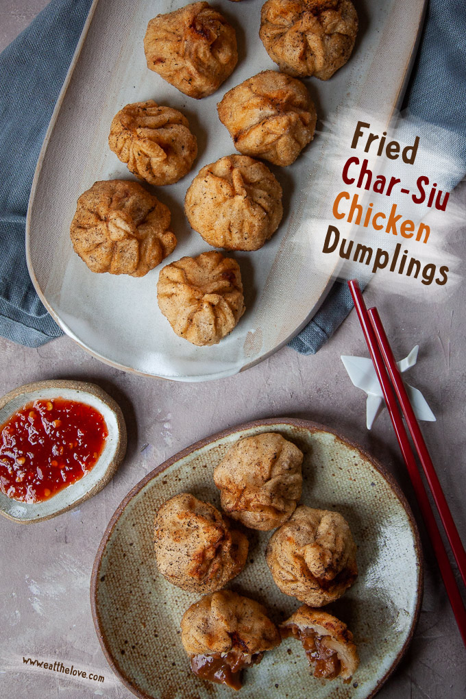 Fried Char Siu Chicken Dumplings (Chinese Barbecue Chicken Dumplings) are fun to make! #dumplings #dimsum #recipe #chicken #charsiu #chinese #asian #bbq #barbecue #fried #homemade