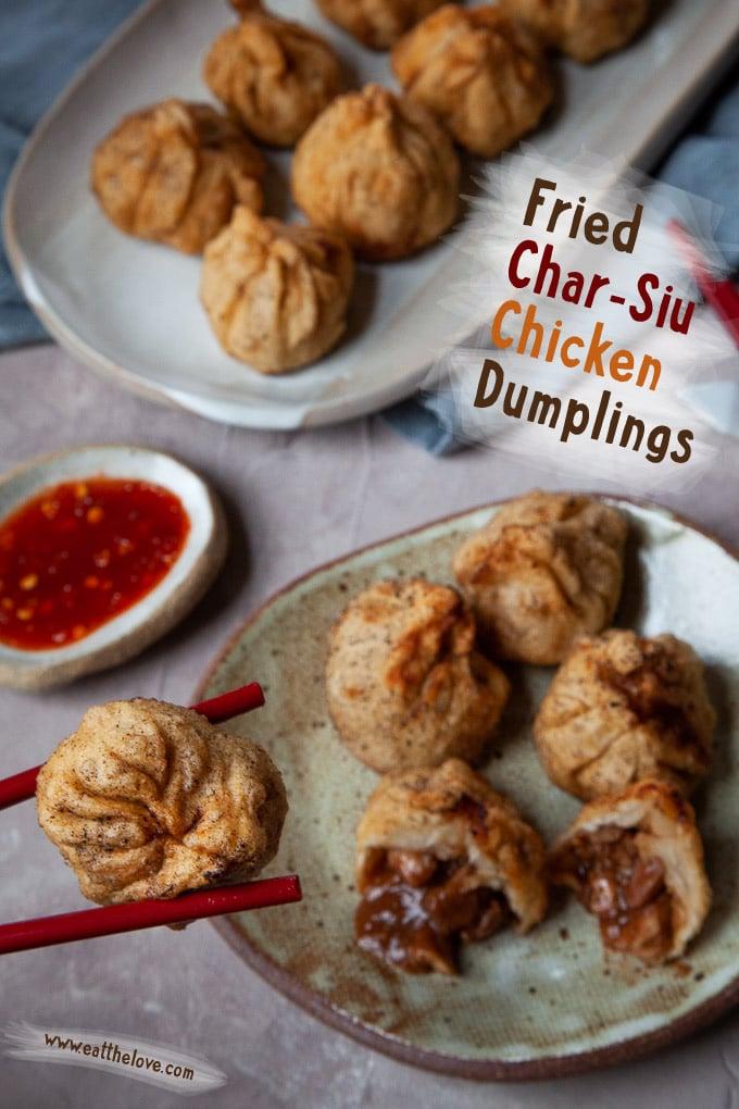 Fried Char Siu Chicken Dumplings (Chinese Barbecue Chicken Dumplings) are fun to make! #dumplings #dimsum #recipe #chicken #charsiu #chinese #asian #bbq #barbecue #fried #homemade