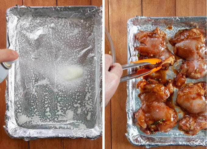 coat a rimmed baking sheet with cooking oil and then place the chicken thighs on it.